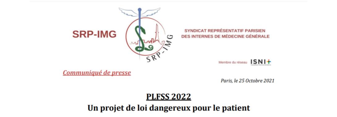 Communiqué de Presse : PLFSS 2022 un projet de loi dangereux pour le patient